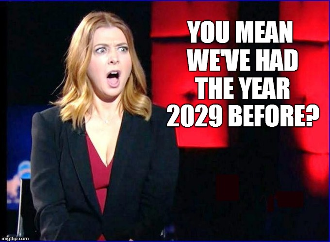 YOU MEAN WE'VE HAD THE YEAR 2029 BEFORE? | made w/ Imgflip meme maker