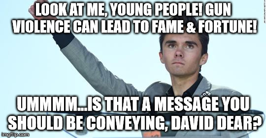 is david hogg glorifying gun violence? | LOOK AT ME, YOUNG PEOPLE! GUN VIOLENCE CAN LEAD TO FAME & FORTUNE! UMMMM...IS THAT A MESSAGE YOU SHOULD BE CONVEYING, DAVID DEAR? | image tagged in david hogg,gun,gun control,gun violence,school shooting | made w/ Imgflip meme maker