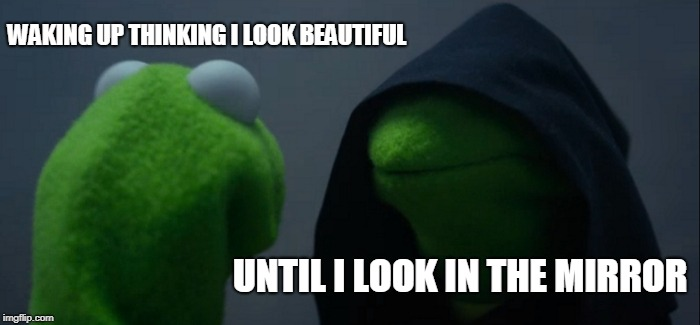 Evil Kermit Meme | WAKING UP THINKING I LOOK BEAUTIFUL UNTIL I LOOK IN THE MIRROR | image tagged in memes,evil kermit | made w/ Imgflip meme maker
