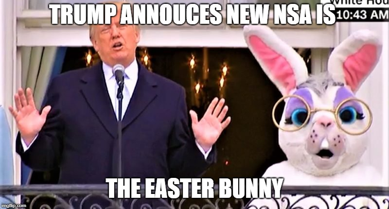 TRUMP ANNOUCES NEW NSA IS THE EASTER BUNNY | image tagged in trump,nsa,easter bunny | made w/ Imgflip meme maker