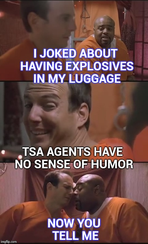Based on a true story , no one can take a joke anymore | I JOKED ABOUT HAVING EXPLOSIVES IN MY LUGGAGE NOW YOU TELL ME TSA AGENTS HAVE NO SENSE OF HUMOR | image tagged in bad pun prison,green bay packers,customer service,police,funny not funny | made w/ Imgflip meme maker