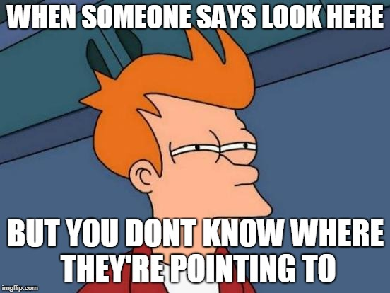 Futurama Fry Meme | WHEN SOMEONE SAYS LOOK HERE BUT YOU DONT KNOW WHERE THEY'RE POINTING TO | image tagged in memes,futurama fry | made w/ Imgflip meme maker