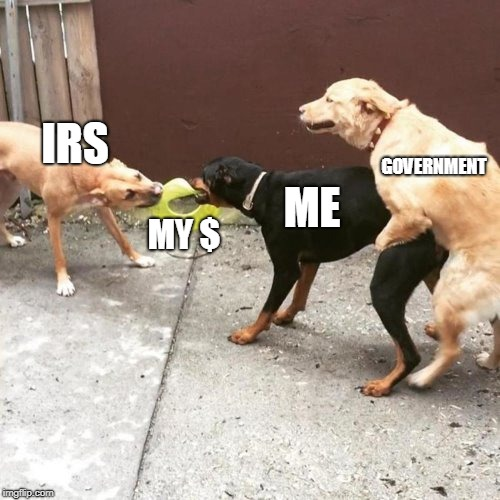 Tax them til they drop! | IRS MY $ ME GOVERNMENT | image tagged in this is my life,taxes,taxation is theft | made w/ Imgflip meme maker