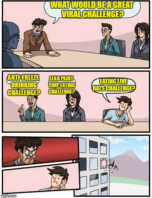 Boardroom Meeting Suggestion Meme | WHAT WOULD BE A GREAT VIRAL CHALLENGE? ANTI-FREEZE DRINKING CHALLENGE? LEAD PAINT CHIP EATING CHALLENGE? EATING LIVE RATS CHALLENGE? | image tagged in memes,boardroom meeting suggestion | made w/ Imgflip meme maker