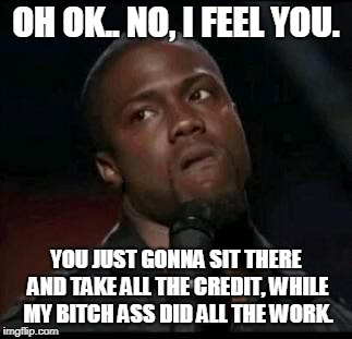 Kevin Hart  | OH OK.. NO, I FEEL YOU. YOU JUST GONNA SIT THERE AND TAKE ALL THE CREDIT, WHILE MY B**CH ASS DID ALL THE WORK. | image tagged in kevin hart | made w/ Imgflip meme maker