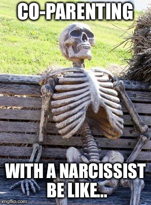 Waiting Skeleton Meme | CO-PARENTING WITH A NARCISSIST BE LIKE... | image tagged in memes,waiting skeleton | made w/ Imgflip meme maker