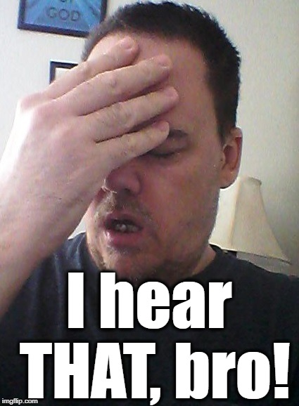 face palm | I hear THAT, bro! | image tagged in face palm | made w/ Imgflip meme maker
