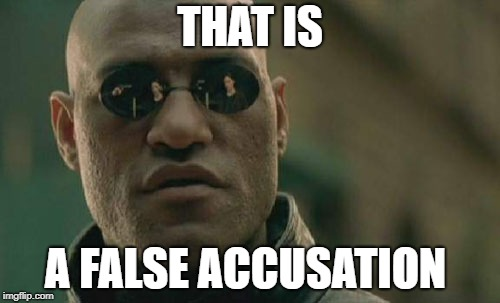 Matrix Morpheus Meme | THAT IS A FALSE ACCUSATION | image tagged in memes,matrix morpheus | made w/ Imgflip meme maker