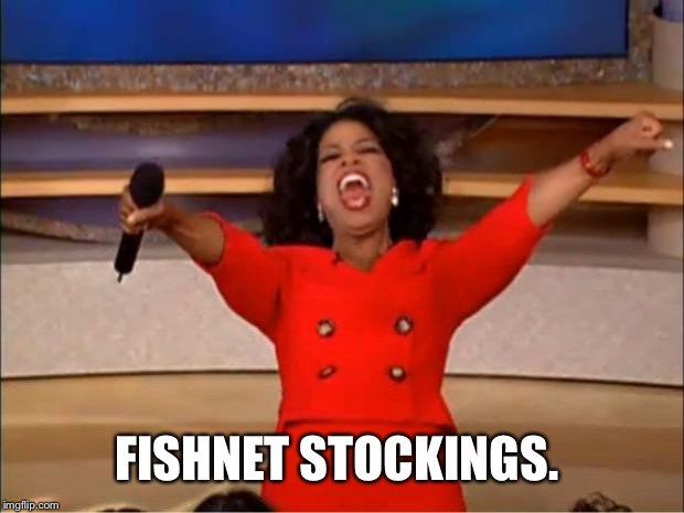 Oprah You Get A Meme | FISHNET STOCKINGS. | image tagged in memes,oprah you get a | made w/ Imgflip meme maker