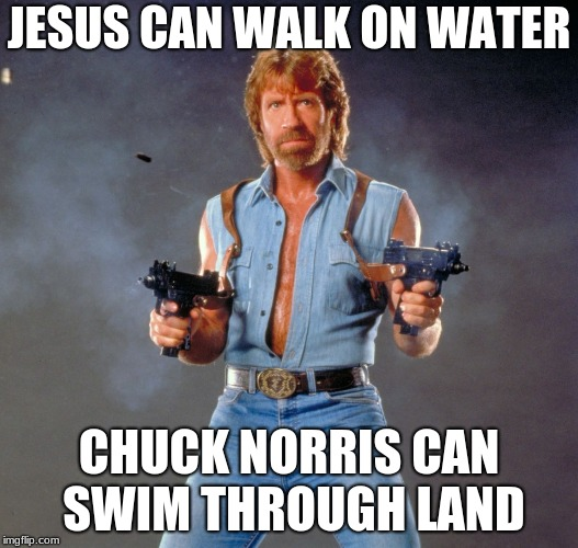 Chuck Norris Guns | JESUS CAN WALK ON WATER CHUCK NORRIS CAN SWIM THROUGH LAND | image tagged in memes,chuck norris guns,chuck norris | made w/ Imgflip meme maker