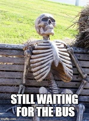 Waiting Skeleton Meme | STILL WAITING FOR THE BUS | image tagged in memes,waiting skeleton | made w/ Imgflip meme maker