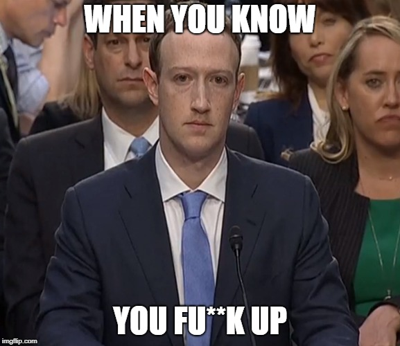 WHEN YOU KNOW YOU FU**K UP | image tagged in facebook,fuck up,mark,mark zuckerberg | made w/ Imgflip meme maker