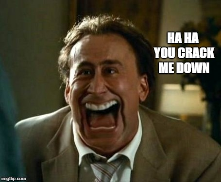laughing face | HA HA YOU CRACK ME DOWN | image tagged in laughing face | made w/ Imgflip meme maker