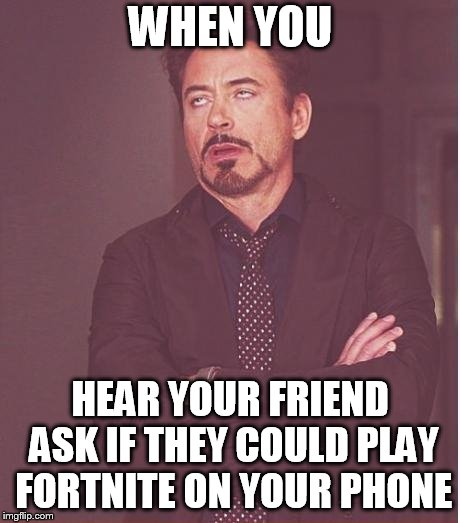 Face You Make Robert Downey Jr Meme | WHEN YOU HEAR YOUR FRIEND ASK IF THEY COULD PLAY FORTNITE ON YOUR PHONE | image tagged in memes,face you make robert downey jr | made w/ Imgflip meme maker