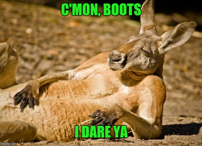 Relaxed dude | C'MON, BOOTS I DARE YA | image tagged in relaxed dude | made w/ Imgflip meme maker