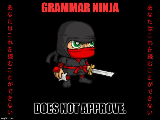 Clever ninja | GRAMMAR NINJA DOES NOT APPROVE. | image tagged in clever ninja | made w/ Imgflip meme maker