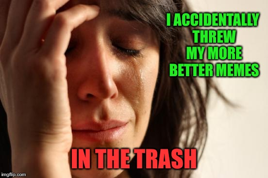 First World Problems Meme | I ACCIDENTALLY THREW MY MORE BETTER MEMES IN THE TRASH | image tagged in memes,first world problems | made w/ Imgflip meme maker