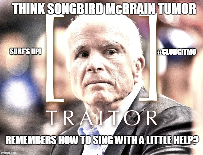 THINK SONGBIRD McBRAIN TUMOR remembers how to sing with a little help?  Senator John McCain - TRAITOR? #QAnon | THINK SONGBIRD McBRAIN TUMOR REMEMBERS HOW TO SING WITH A LITTLE HELP? #CLUBGITMO SURF'S UP! | image tagged in alzheimers,john mccain,traitor,remember when,islamic state,guantanamo | made w/ Imgflip meme maker