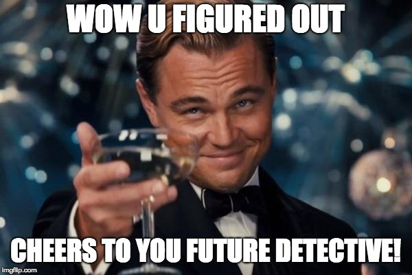 Leonardo Dicaprio Cheers Meme | WOW U FIGURED OUT CHEERS TO YOU FUTURE DETECTIVE! | image tagged in memes,leonardo dicaprio cheers | made w/ Imgflip meme maker