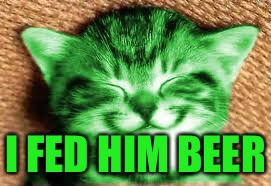 happy RayCat | I FED HIM BEER | image tagged in happy raycat | made w/ Imgflip meme maker