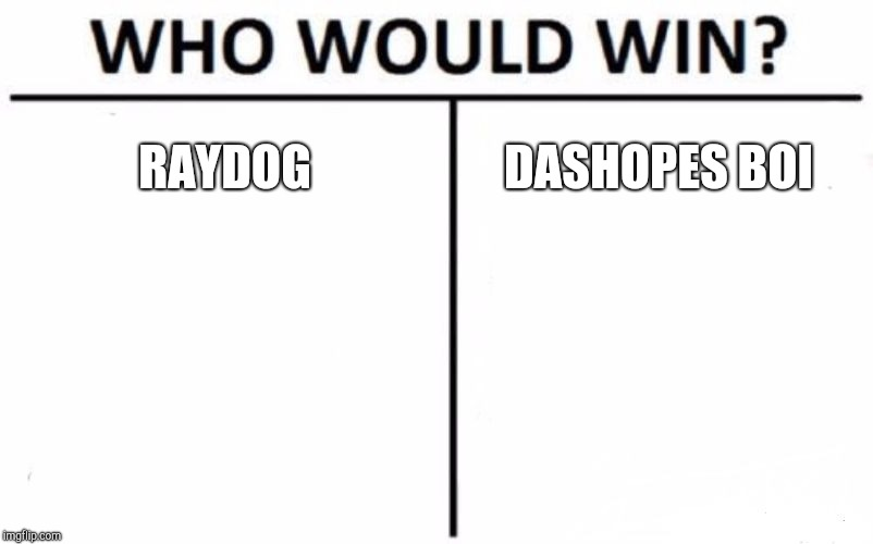 Who Would Win? Meme | RAYDOG DASHOPES BOI | image tagged in memes,who would win | made w/ Imgflip meme maker