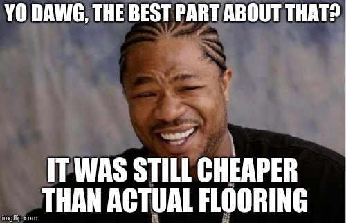 Yo Dawg Heard You Meme | YO DAWG, THE BEST PART ABOUT THAT? IT WAS STILL CHEAPER THAN ACTUAL FLOORING | image tagged in memes,yo dawg heard you | made w/ Imgflip meme maker