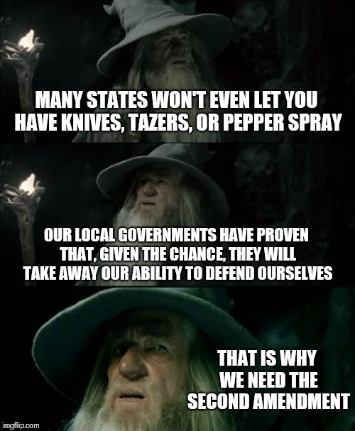 Confused Gandalf |  MANY STATES WON'T EVEN LET YOU HAVE KNIVES, TAZERS, OR PEPPER SPRAY; OUR LOCAL GOVERNMENTS HAVE PROVEN THAT, GIVEN THE CHANCE, THEY WILL TAKE AWAY OUR ABILITY TO DEFEND OURSELVES; THAT IS WHY WE NEED THE SECOND AMENDMENT | image tagged in memes,confused gandalf | made w/ Imgflip meme maker