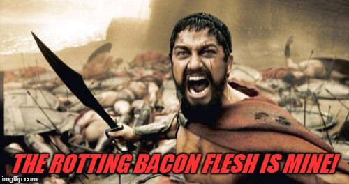 Sparta Leonidas Meme | THE ROTTING BACON FLESH IS MINE! | image tagged in memes,sparta leonidas | made w/ Imgflip meme maker