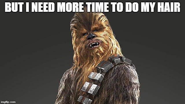 chewbacca | BUT I NEED MORE TIME TO DO MY HAIR | image tagged in chewbacca | made w/ Imgflip meme maker