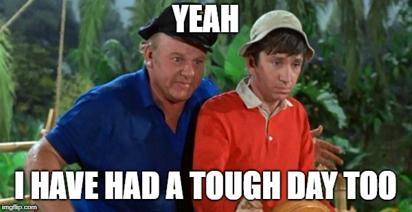 gilligan | YEAH I HAVE HAD A TOUGH DAY TOO | image tagged in gilligan | made w/ Imgflip meme maker