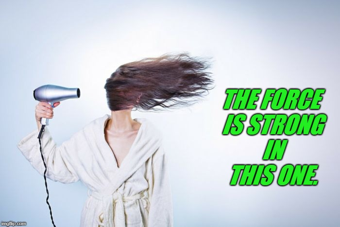 Hair dryer | THE FORCE IS STRONG IN THIS ONE. | image tagged in hair dryer | made w/ Imgflip meme maker