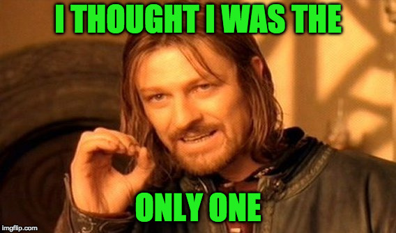 One Does Not Simply Meme | I THOUGHT I WAS THE ONLY ONE | image tagged in memes,one does not simply | made w/ Imgflip meme maker