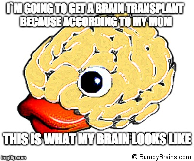 I`M GOING TO GET A BRAIN TRANSPLANT BECAUSE ACCORDING TO MY MOM THIS IS WHAT MY BRAIN LOOKS LIKE | image tagged in memes,viral meme | made w/ Imgflip meme maker