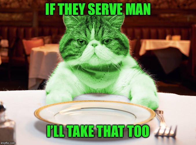 RayCat Hungry | IF THEY SERVE MAN I'LL TAKE THAT TOO | image tagged in raycat hungry | made w/ Imgflip meme maker