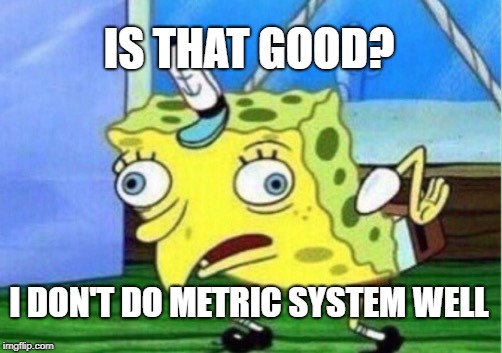 Mocking Spongebob Meme | IS THAT GOOD? I DON'T DO METRIC SYSTEM WELL | image tagged in memes,mocking spongebob | made w/ Imgflip meme maker