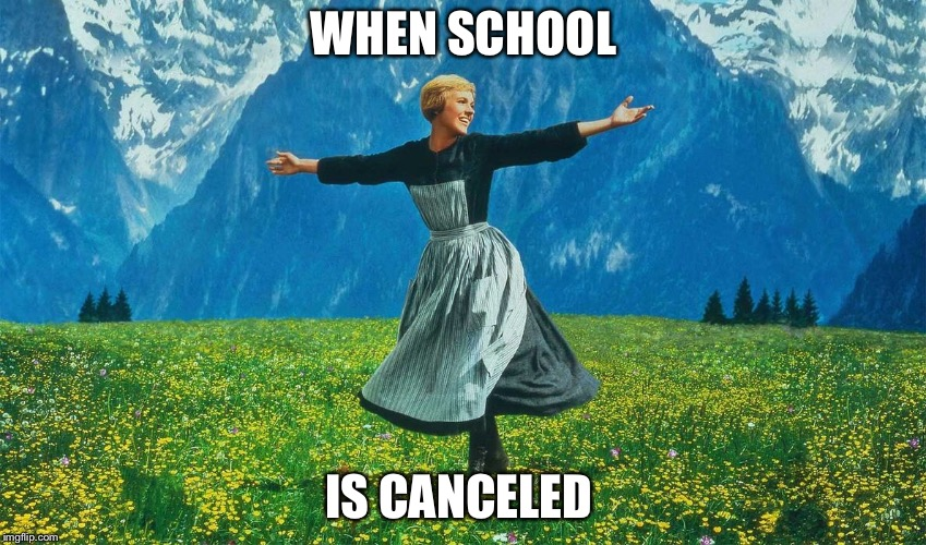 The Sound of Music Meme | WHEN SCHOOL IS CANCELED | image tagged in the sound of music,meme | made w/ Imgflip meme maker