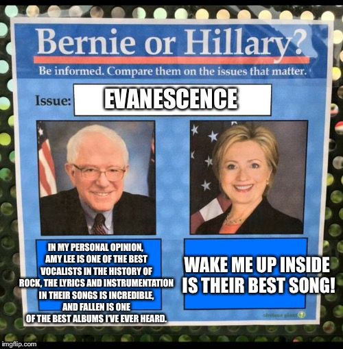 Bernie vs Hillary EFF | EVANESCENCE IN MY PERSONAL OPINION, AMY LEE IS ONE OF THE BEST VOCALISTS IN THE HISTORY OF ROCK, THE LYRICS AND INSTRUMENTATION IN THEIR SON | image tagged in bernie vs hillary eff,bernie vs hillary,memes,funny,evanescence | made w/ Imgflip meme maker