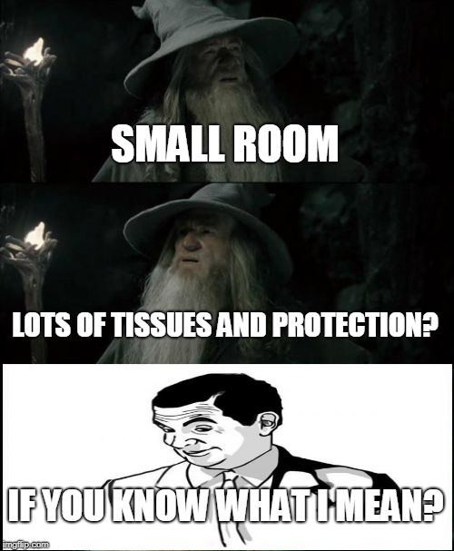 Confused Gandalf Meme | SMALL ROOM LOTS OF TISSUES AND PROTECTION? IF YOU KNOW WHAT I MEAN? | image tagged in memes,confused gandalf | made w/ Imgflip meme maker
