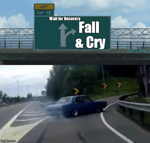 Left Exit 12 Off Ramp Meme | Wait for Recovery Fall & Cry | image tagged in memes,left exit 12 off ramp | made w/ Imgflip meme maker