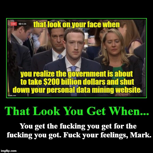 That Look you Get... | That Look You Get When... | You get the f**king you get for the f**king you got. F**k your feelings, Mark. | image tagged in funny,demotivationals,mark zuckerberg | made w/ Imgflip demotivational maker