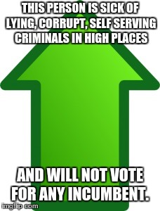 Green Arrow | THIS PERSON IS SICK OF LYING, CORRUPT, SELF SERVING CRIMINALS IN HIGH PLACES AND WILL NOT VOTE FOR ANY INCUMBENT. | image tagged in green arrow | made w/ Imgflip meme maker