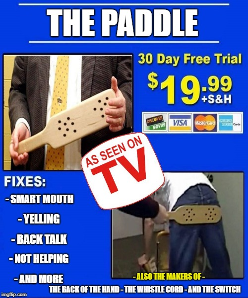 The paddle |  THE PADDLE; - SMART MOUTH; - YELLING; - BACK TALK; - NOT HELPING; - ALSO THE MAKERS OF -; - AND MORE; THE BACK OF THE HAND - THE WHISTLE CORD - AND THE SWITCH | image tagged in funny meme,tv humor | made w/ Imgflip meme maker