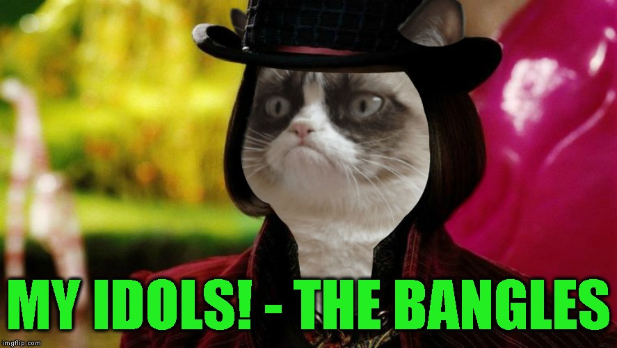 Wonka Grumpy Cat | MY IDOLS! - THE BANGLES | image tagged in wonka grumpy cat | made w/ Imgflip meme maker