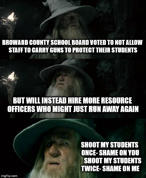 Confused Gandalf Meme | BROWARD COUNTY SCHOOL BOARD VOTED TO NOT ALLOW STAFF TO CARRY GUNS TO PROTECT THEIR STUDENTS BUT WILL INSTEAD HIRE MORE RESOURCE OFFICERS WH | image tagged in memes,confused gandalf | made w/ Imgflip meme maker