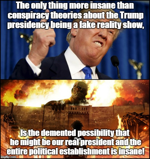 Reality more insane than Conspiracy Theory? | The only thing more insane than conspiracy theories about the Trump presidency being a fake reality show, Is the demented possibility that h | image tagged in donald trump,conspiracy theories,politics | made w/ Imgflip meme maker
