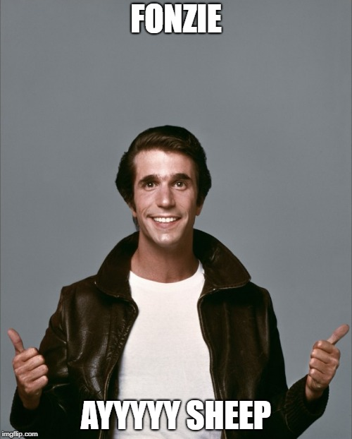The Fonz | FONZIE AYYYYY SHEEP | image tagged in the fonz | made w/ Imgflip meme maker