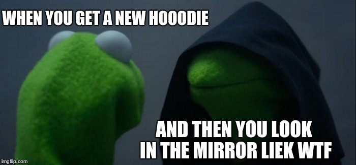 Evil Kermit Meme | WHEN YOU GET A NEW HOOODIE AND THEN YOU LOOK IN THE MIRROR LIEK WTF | image tagged in memes,evil kermit | made w/ Imgflip meme maker