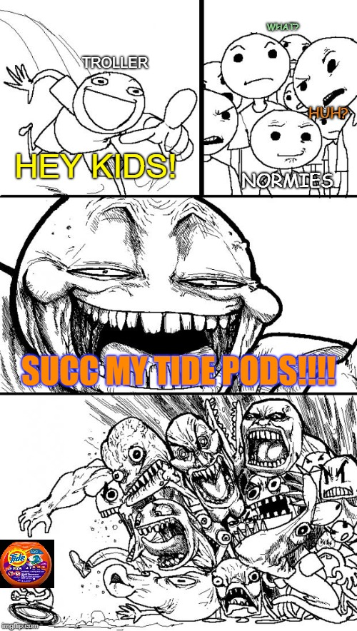 Hey Kids! | TROLLER HEY KIDS! HUH? WHAT? NORMIES SUCC MY TIDE PODS!!!! | image tagged in memes,hey internet,tide pods,normies,normie,succ | made w/ Imgflip meme maker