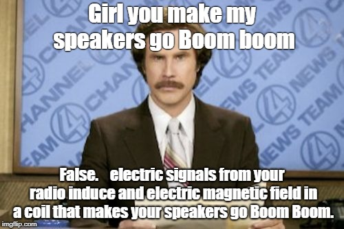 Ron Burgundy Meme | Girl you make my speakers go Boom boom False.    electric signals from your radio induce and electric magnetic field in a coil that makes yo | image tagged in memes,ron burgundy | made w/ Imgflip meme maker