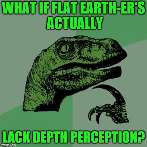 From their perception, wouldn't they be kinda right? | WHAT IF FLAT EARTH-ER'S ACTUALLY LACK DEPTH PERCEPTION? | image tagged in memes,philosoraptor,flat earth | made w/ Imgflip meme maker